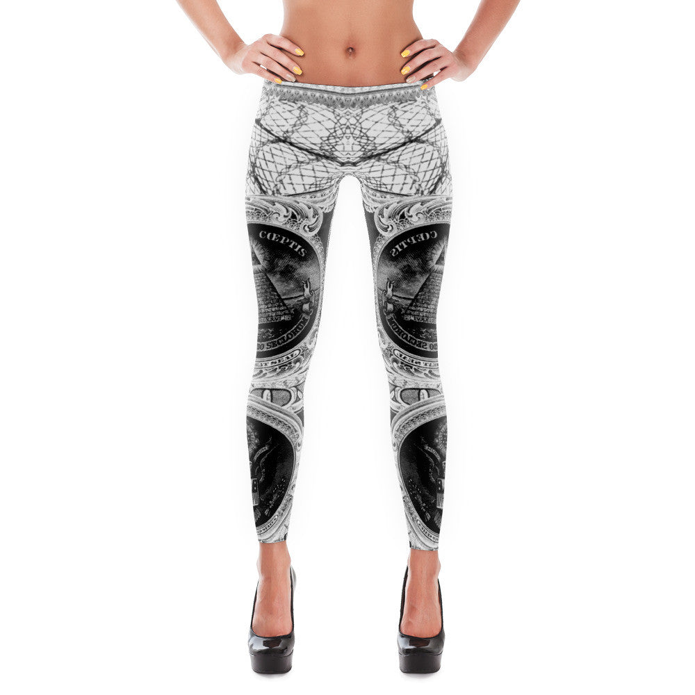 """Illegal Tender"" Leggings [White + Black]"