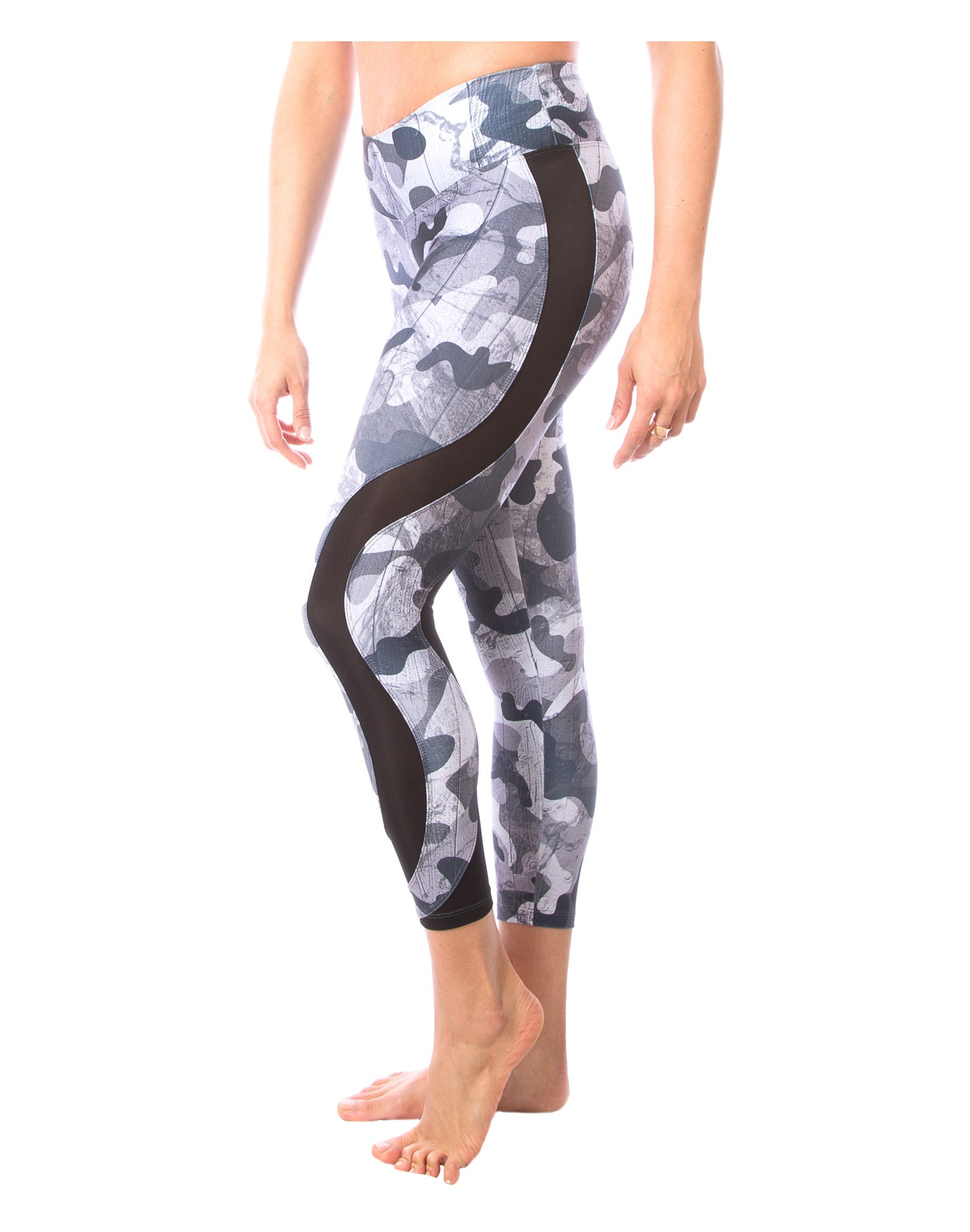 Black and White Camo Mesh Yoga Pants | Printed Leggings for Women | LavaLoka
