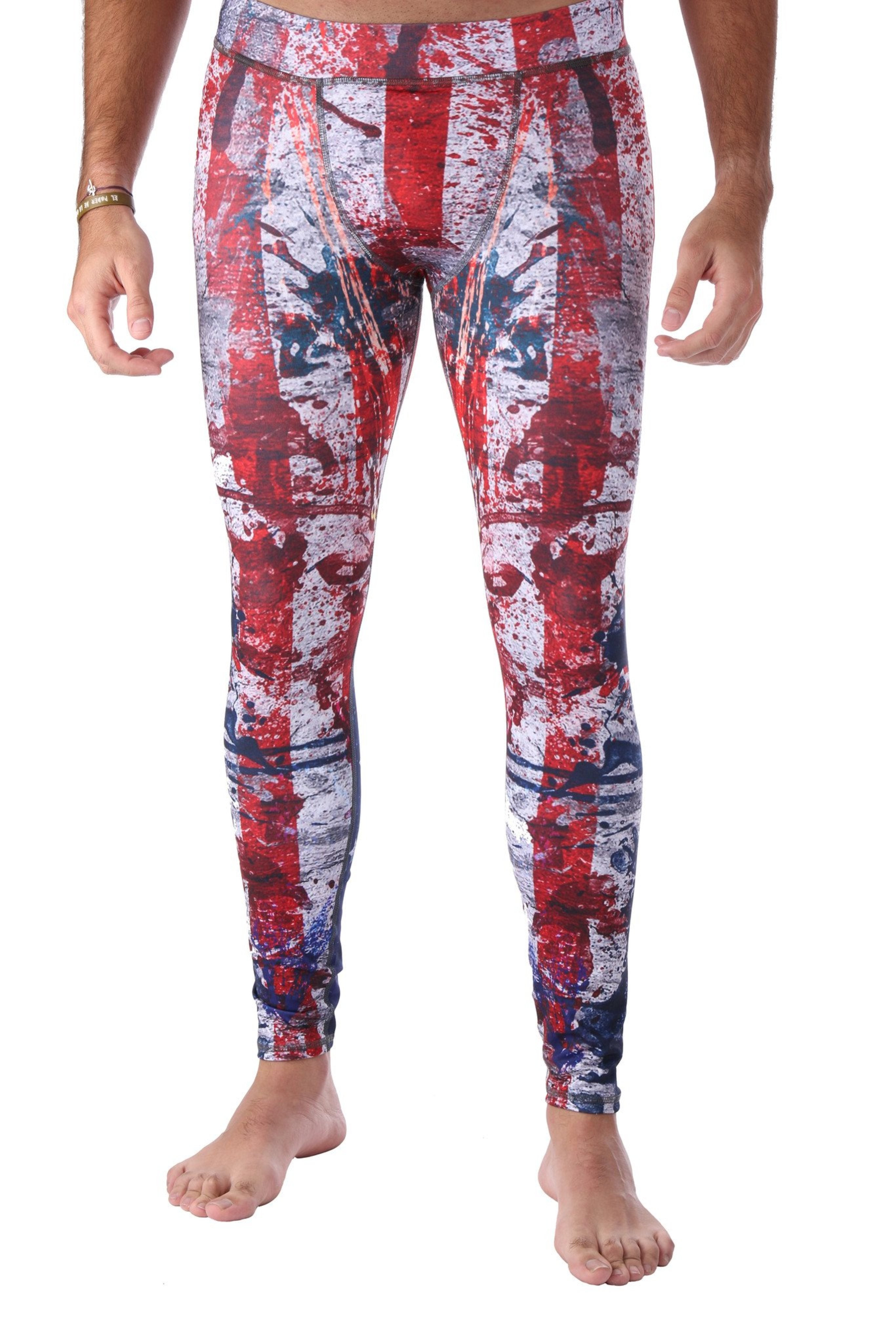 Yoga Pants Mens American Patriotic Legging By LavaLoka Red White And Blue