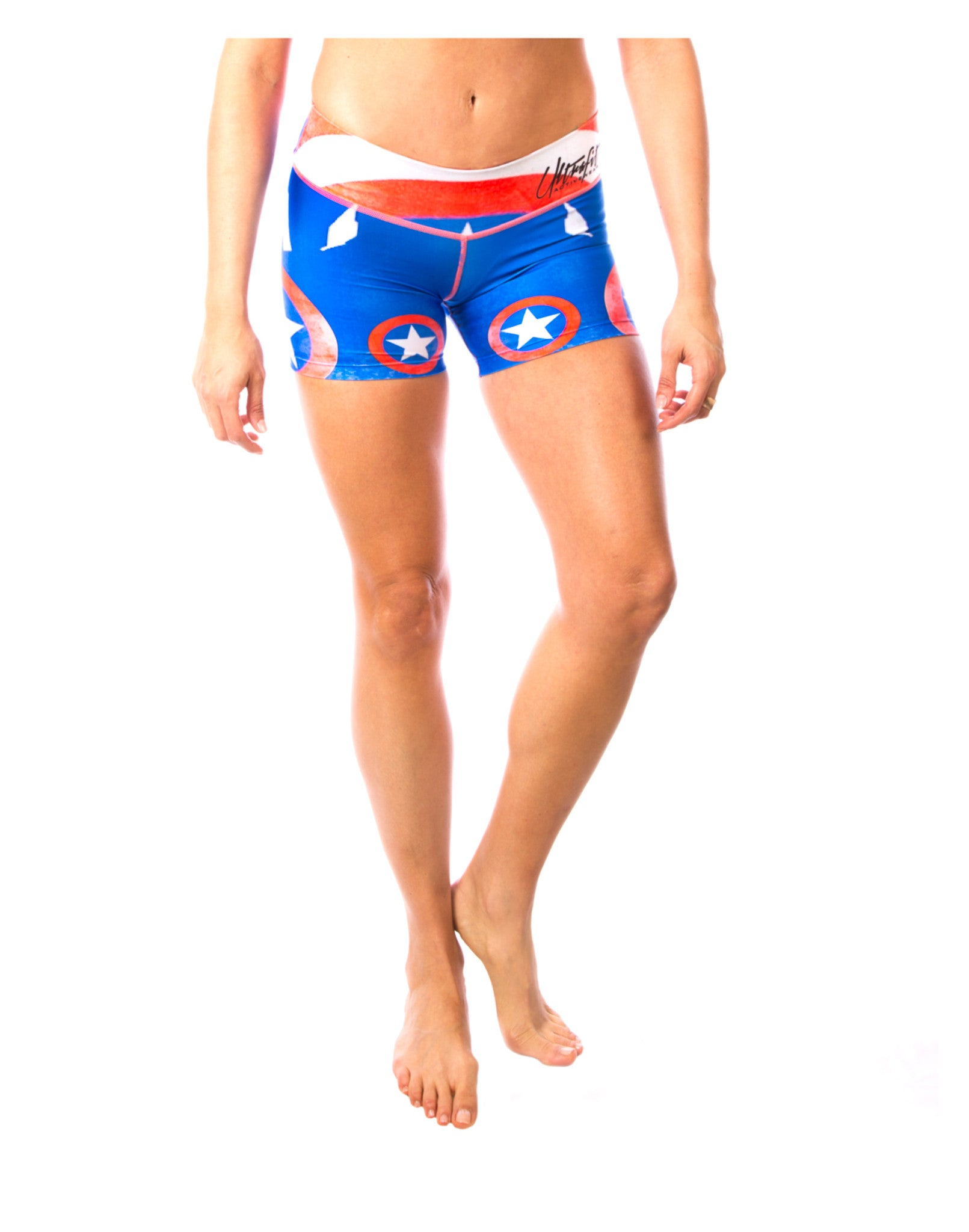 Super Hero Spandex America shorts - compression shorts for hot yoga by LavaLoka - I'm A Patriot Collection