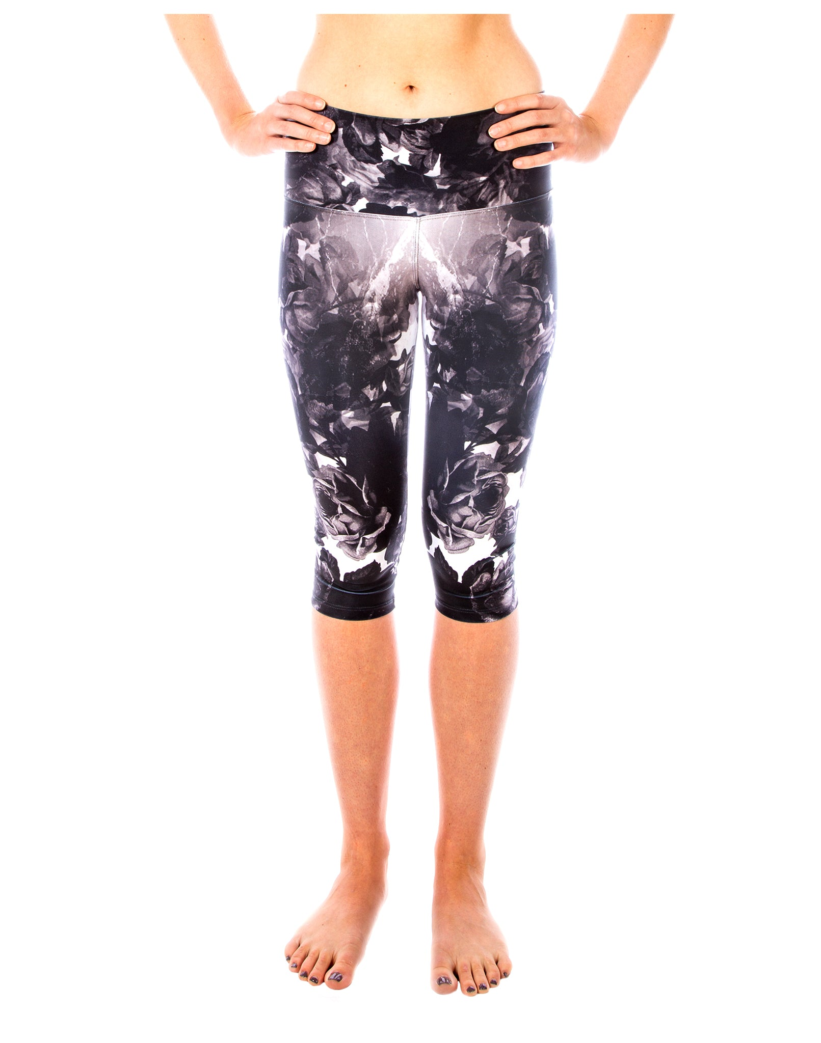 Black Ebony Rose Capri Yoga Pants