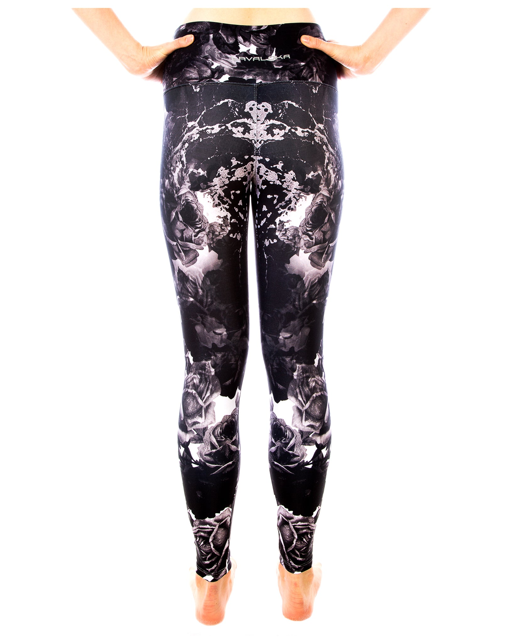Black Ebony Rose Yoga Pants