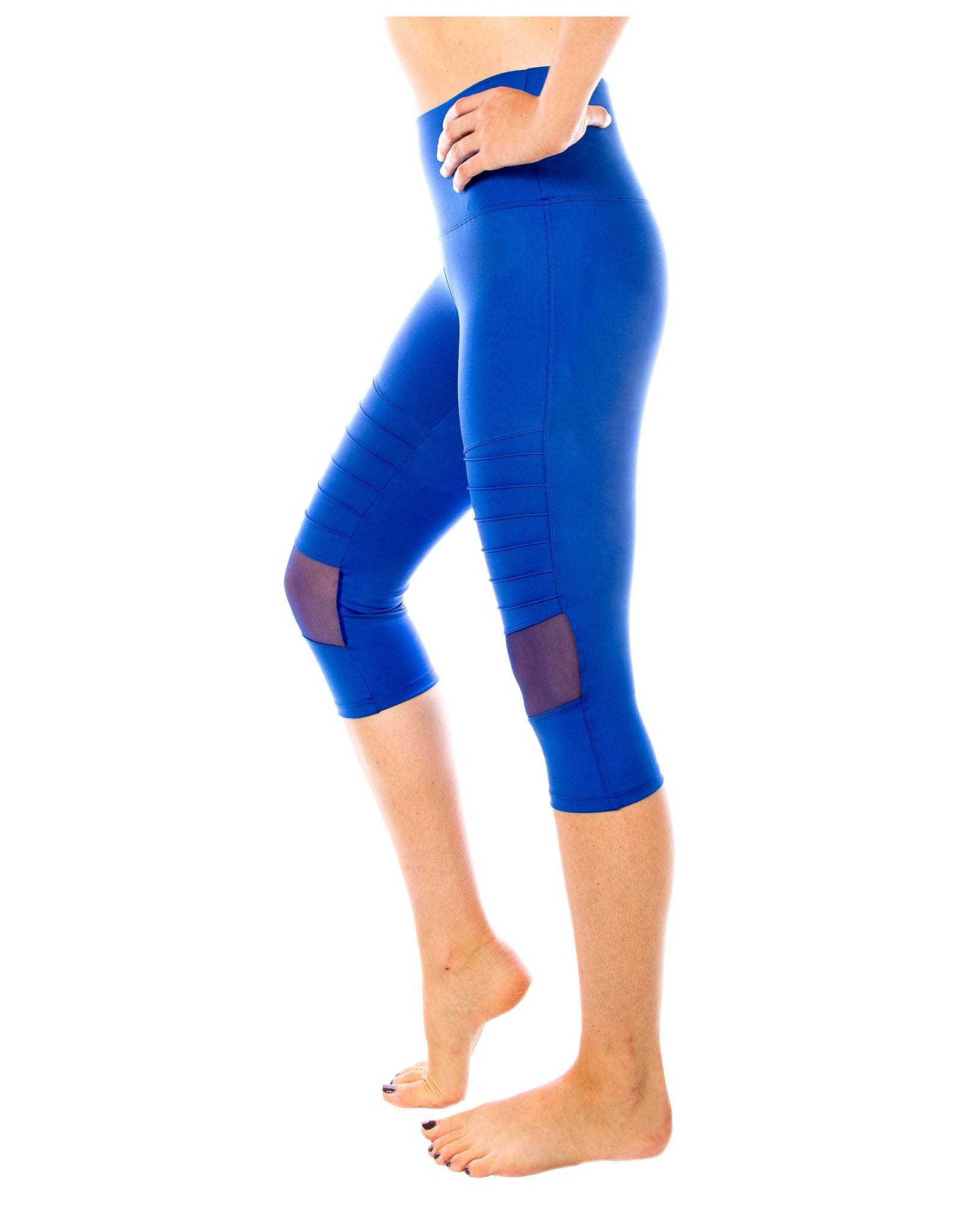 Moto Chick Capri Yoga Pants - Blue