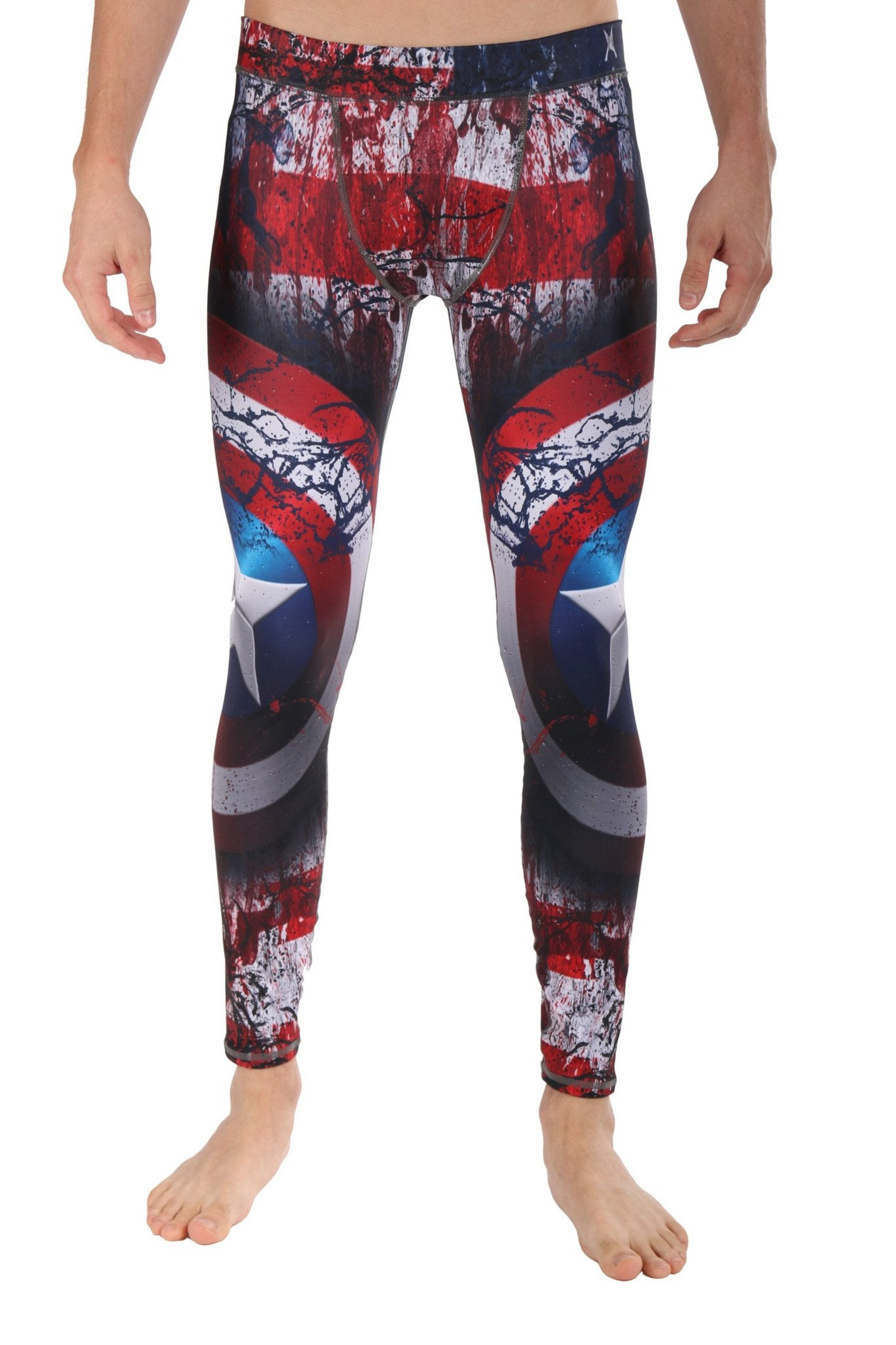 Super Hero Yoga Pants- Captain America Men's Legging. Find this beast pattern in the Patriotic Me LavaLoka Collection.