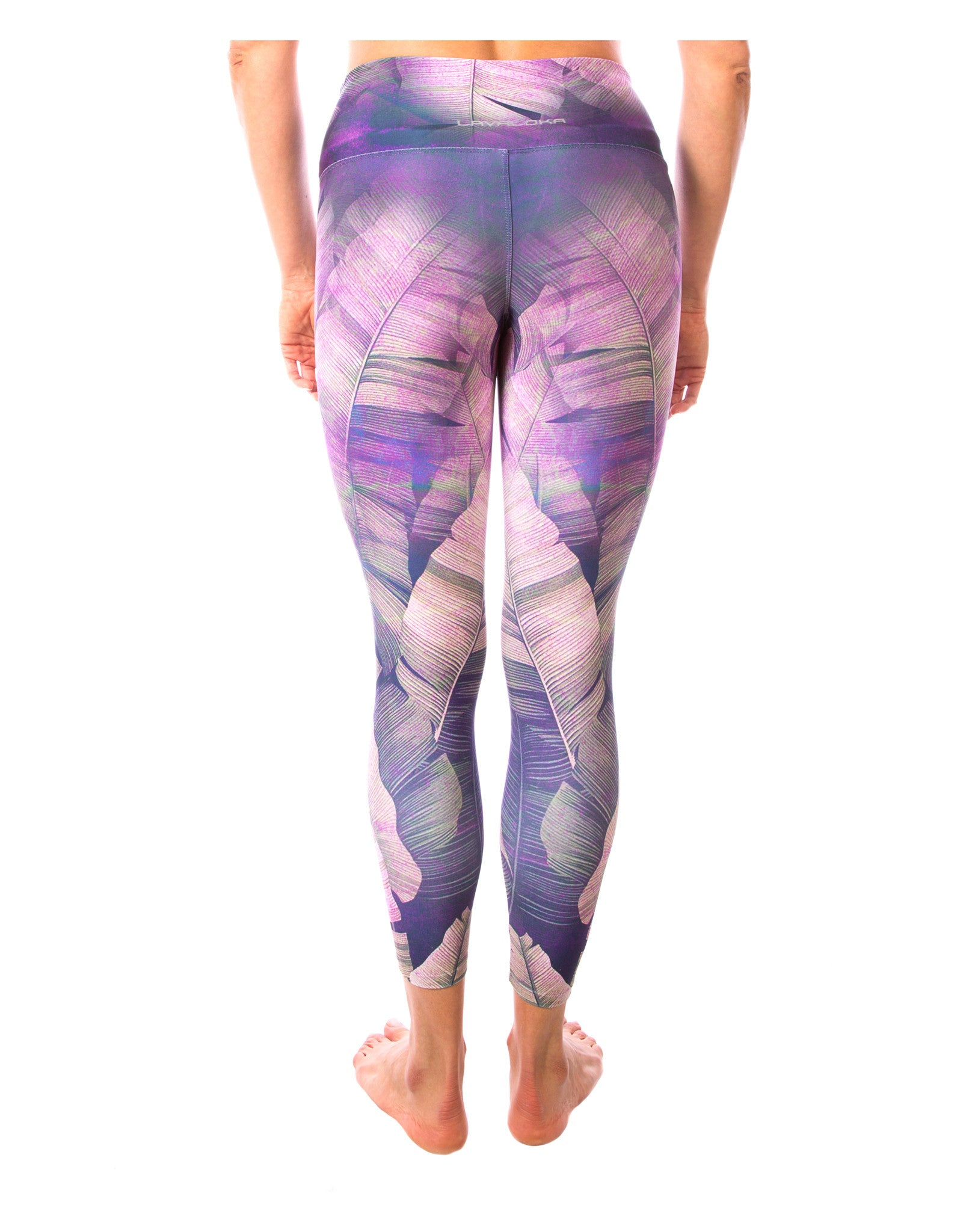 7512897af22c3b ... Be zen in our peaceful purple, pink, & mauve lovely palm leaf yoga pant