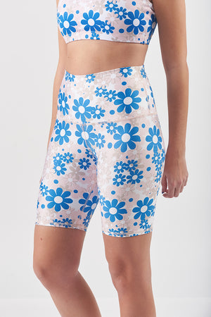 High Waisted Biker Short - Flower Power 8""