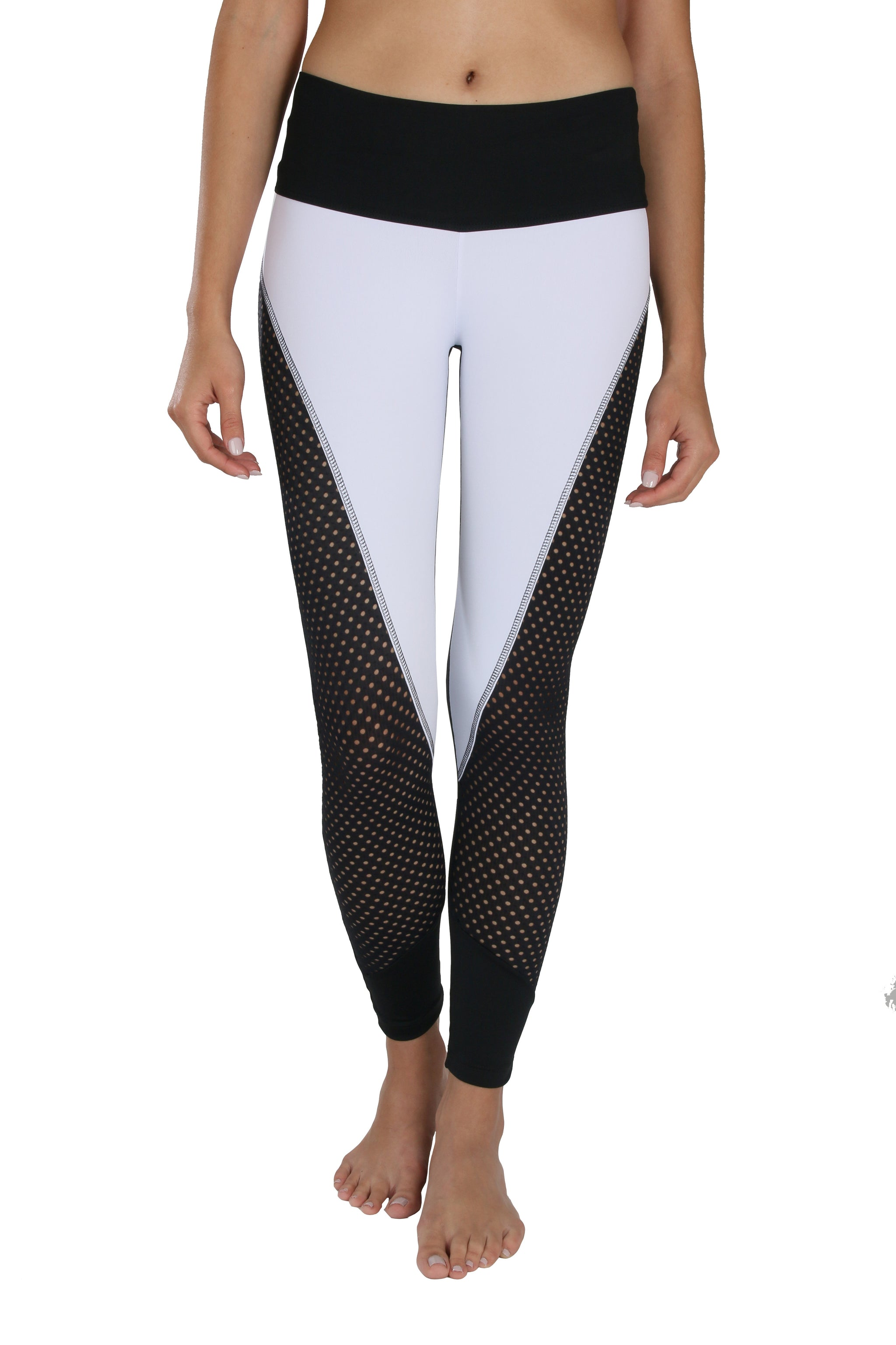 Black & White Mesh Yoga Pants | Sleek Design Leggings | Gorgeous Exercise Pants by Lavaloka