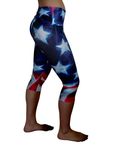 American Flag Capri Yoga Pants