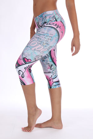 Breast Cancer Awareness Pink Ribbon Capri