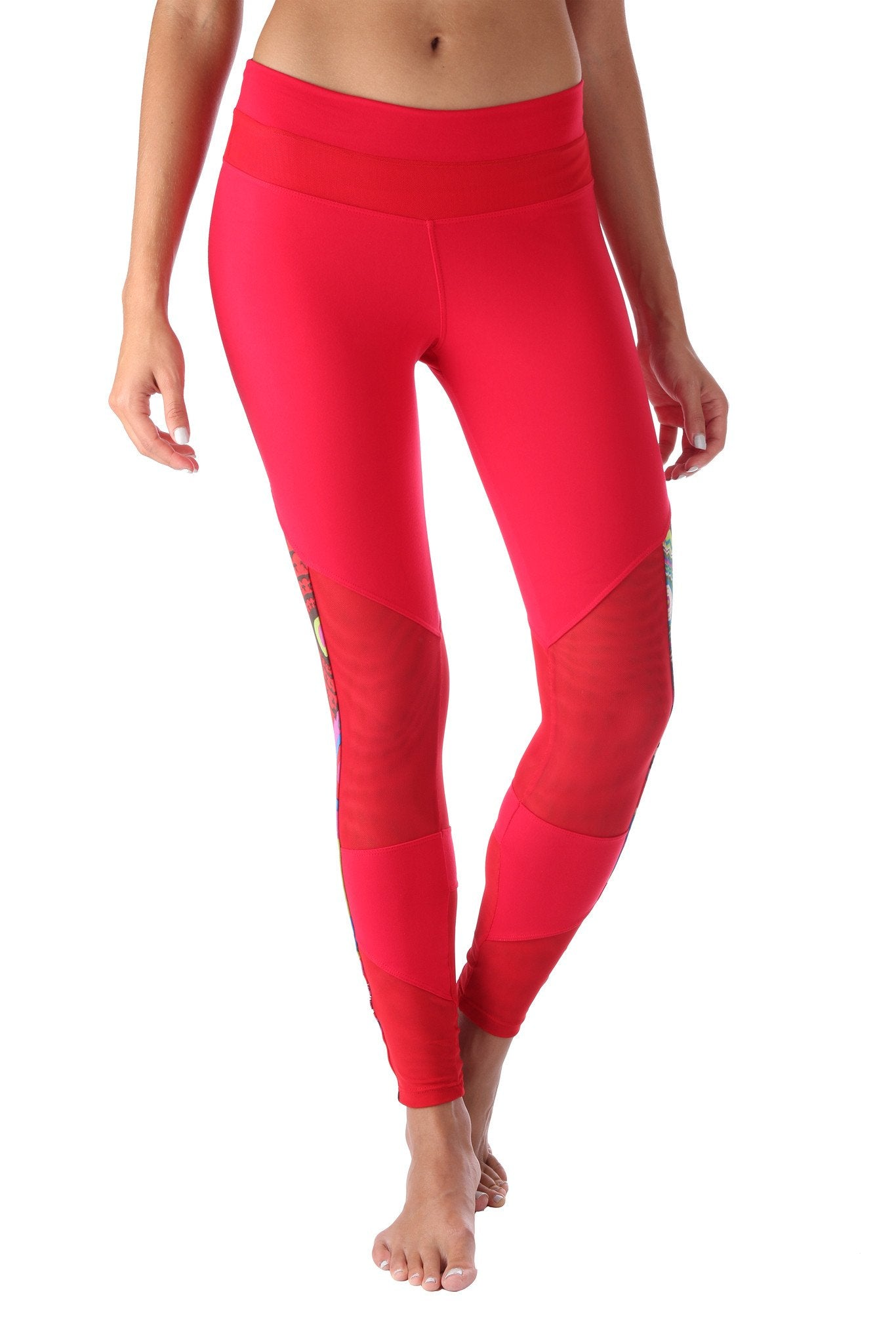 Red Printed Mesh Legging