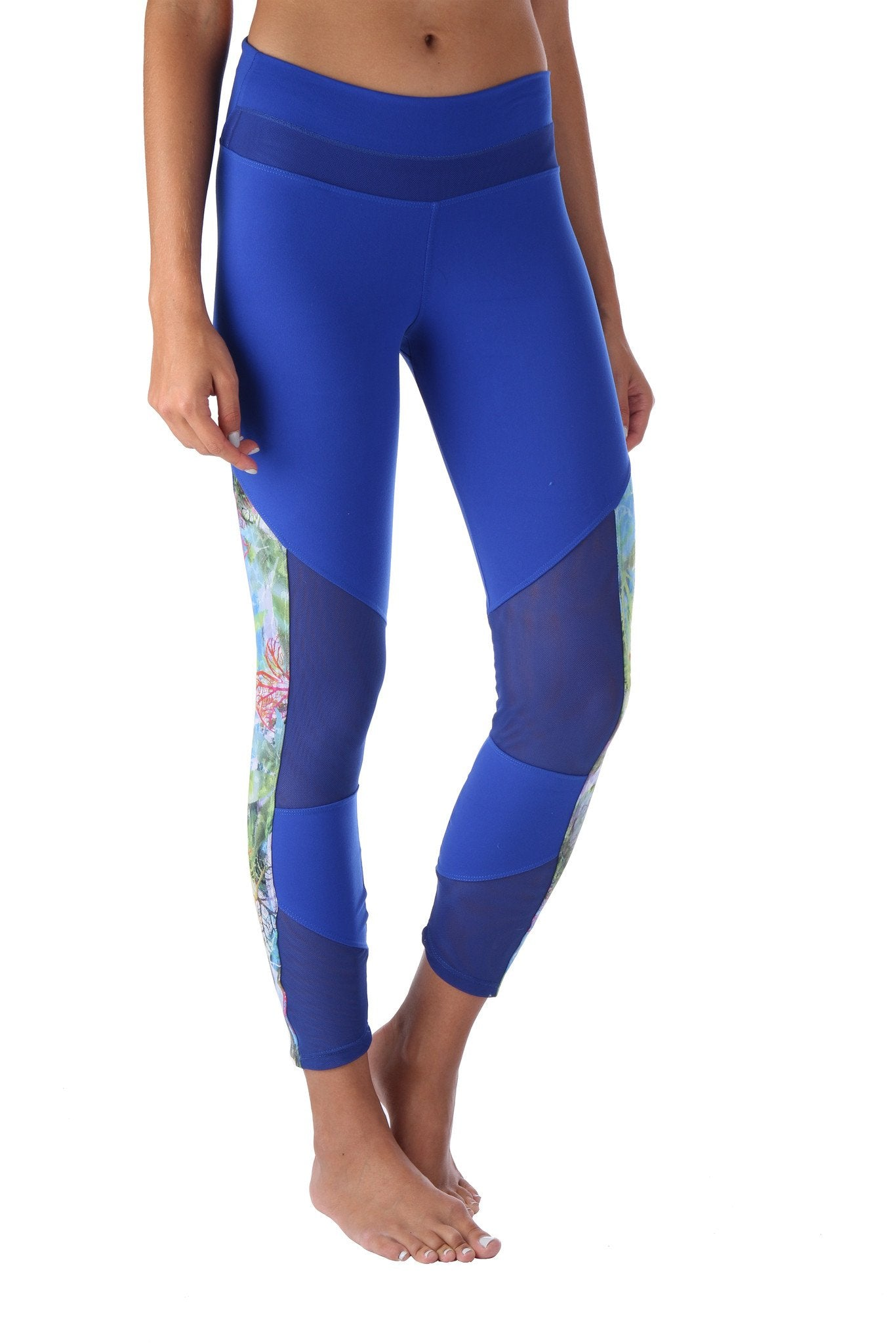 Blue Printed Mesh Legging
