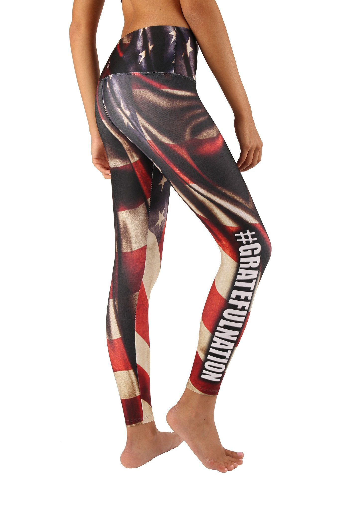 Grateful Nation Leggings - Patriotic Leggings for the Gym, Run, Marathon, Race - Lavaloka