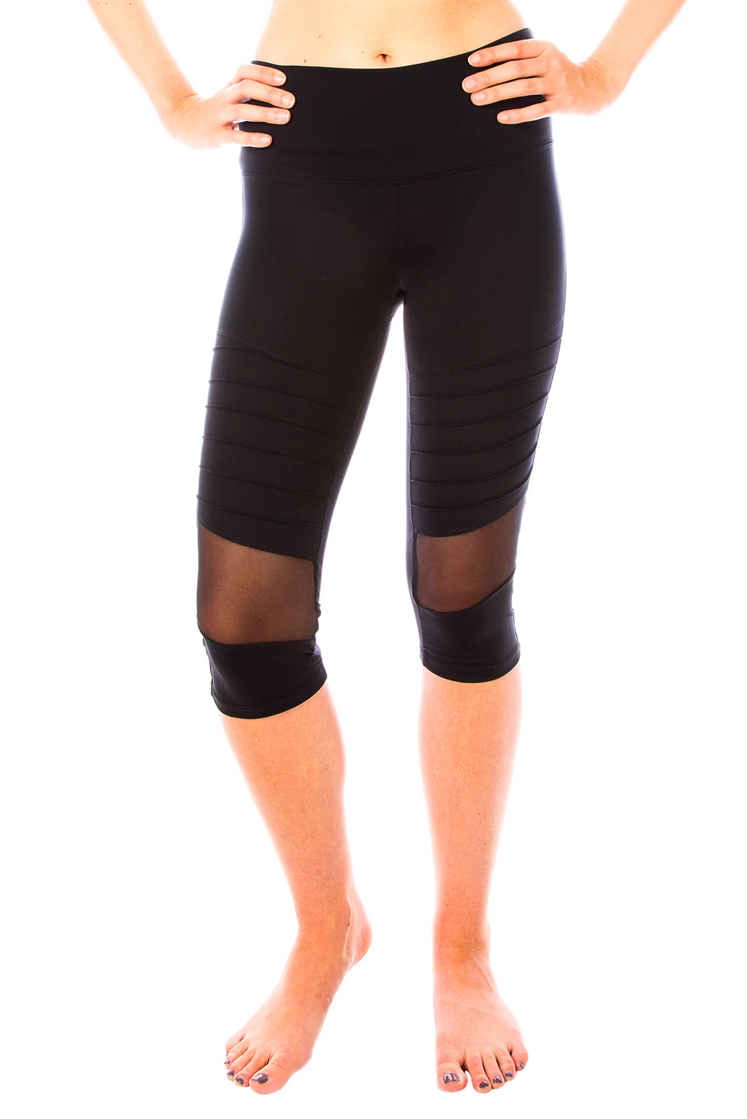 Moto Chick Capri Yoga Pants - Black