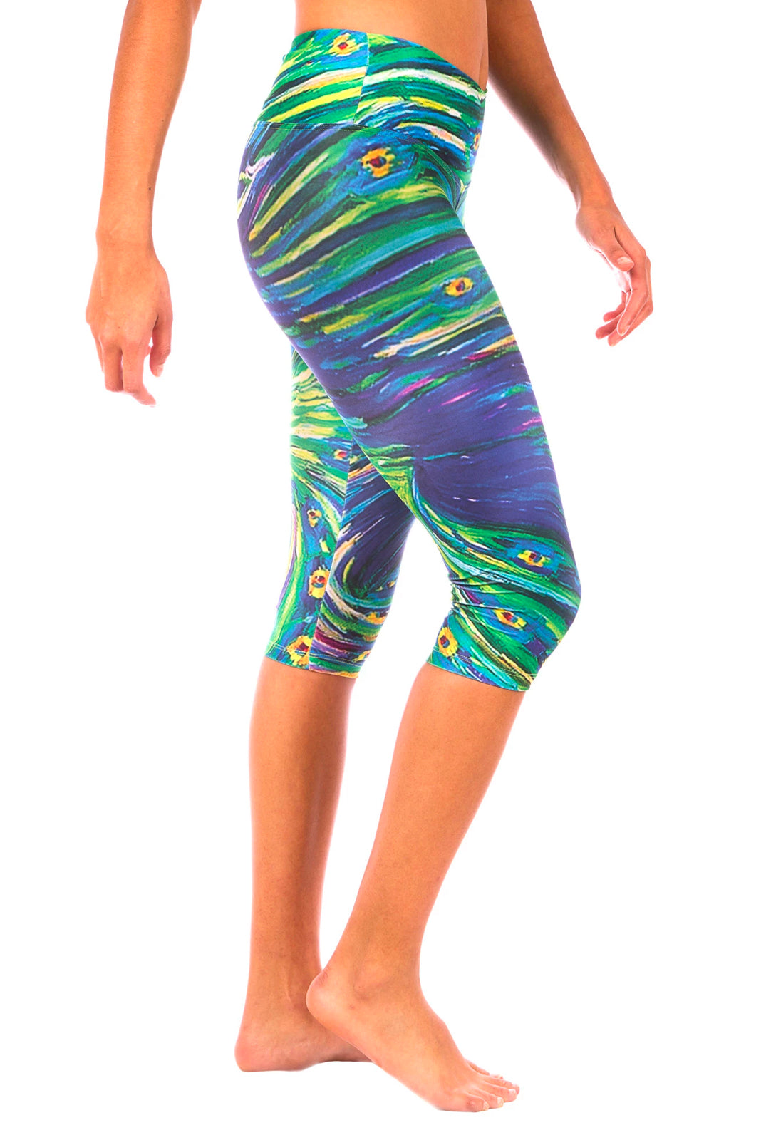 Peacock Capri Yoga Pants