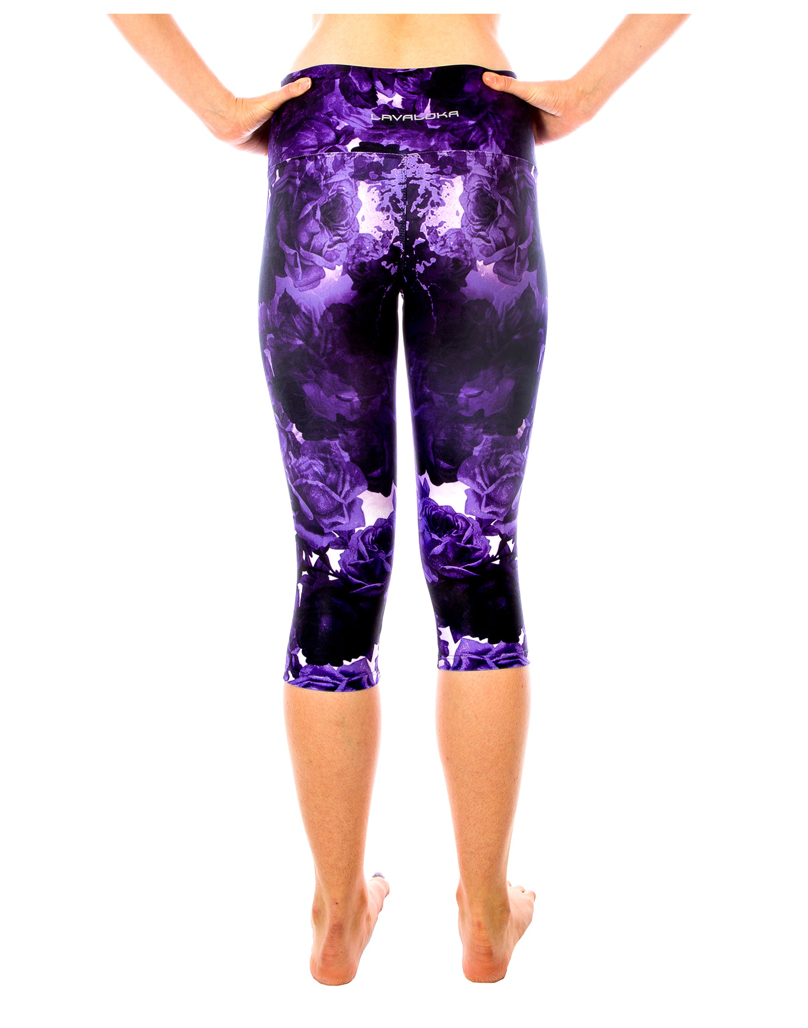 Plum Purple Rose Capri Yoga Pants