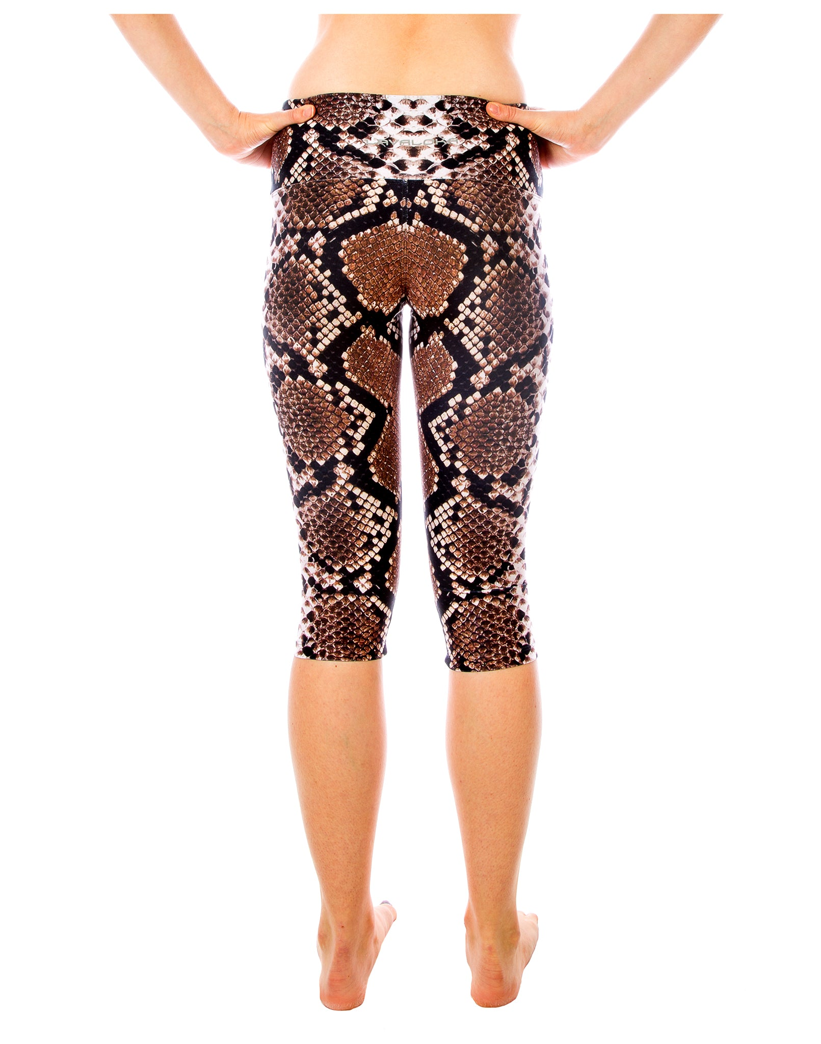 Black & Brown Python Capri Yoga Pants