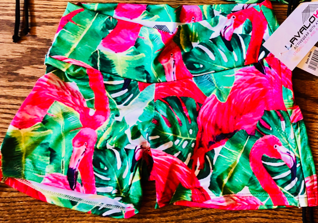 Pink Flamingo Fly Girl Shorts