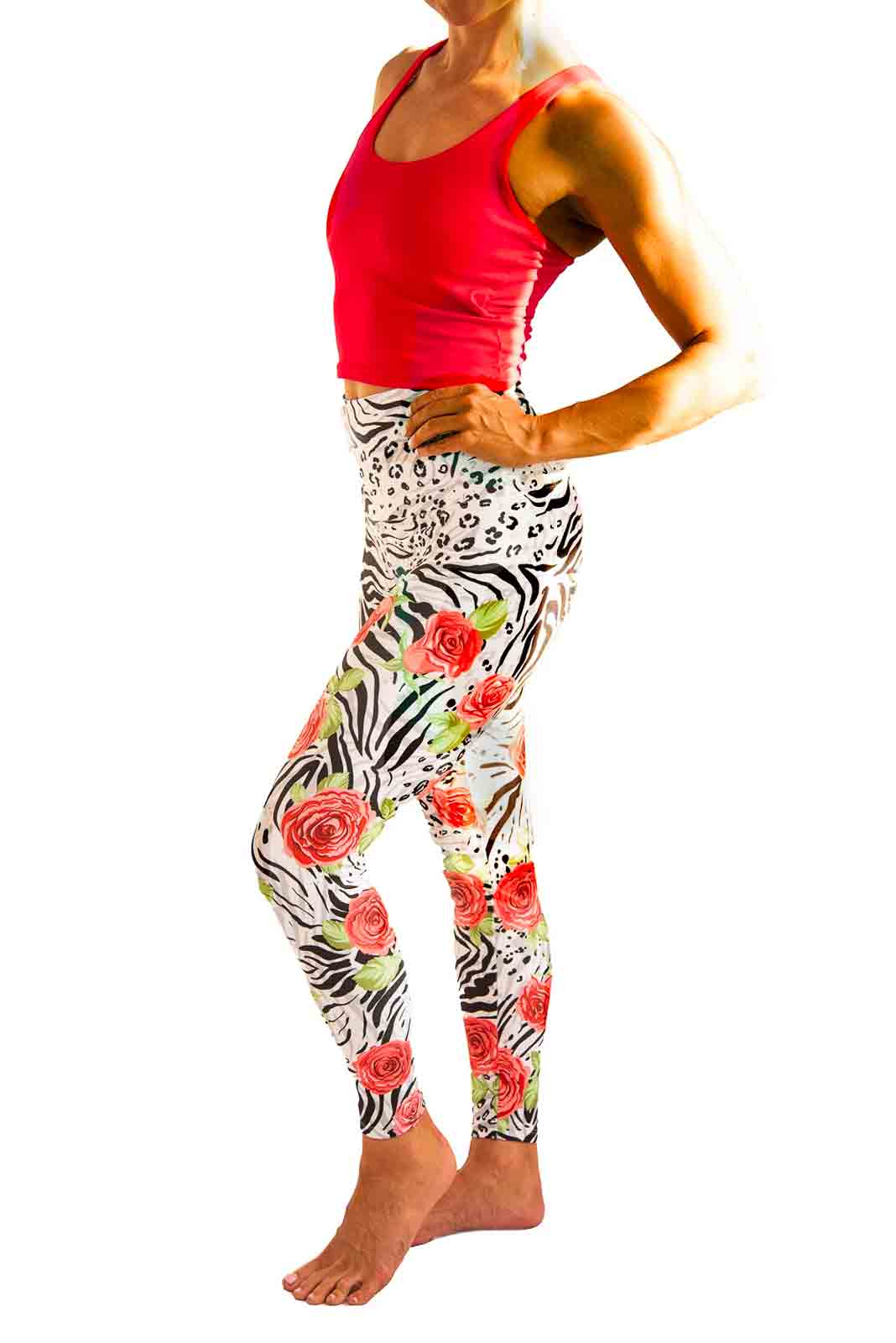 Tiger & Leopard Red Floral Yoga Pants