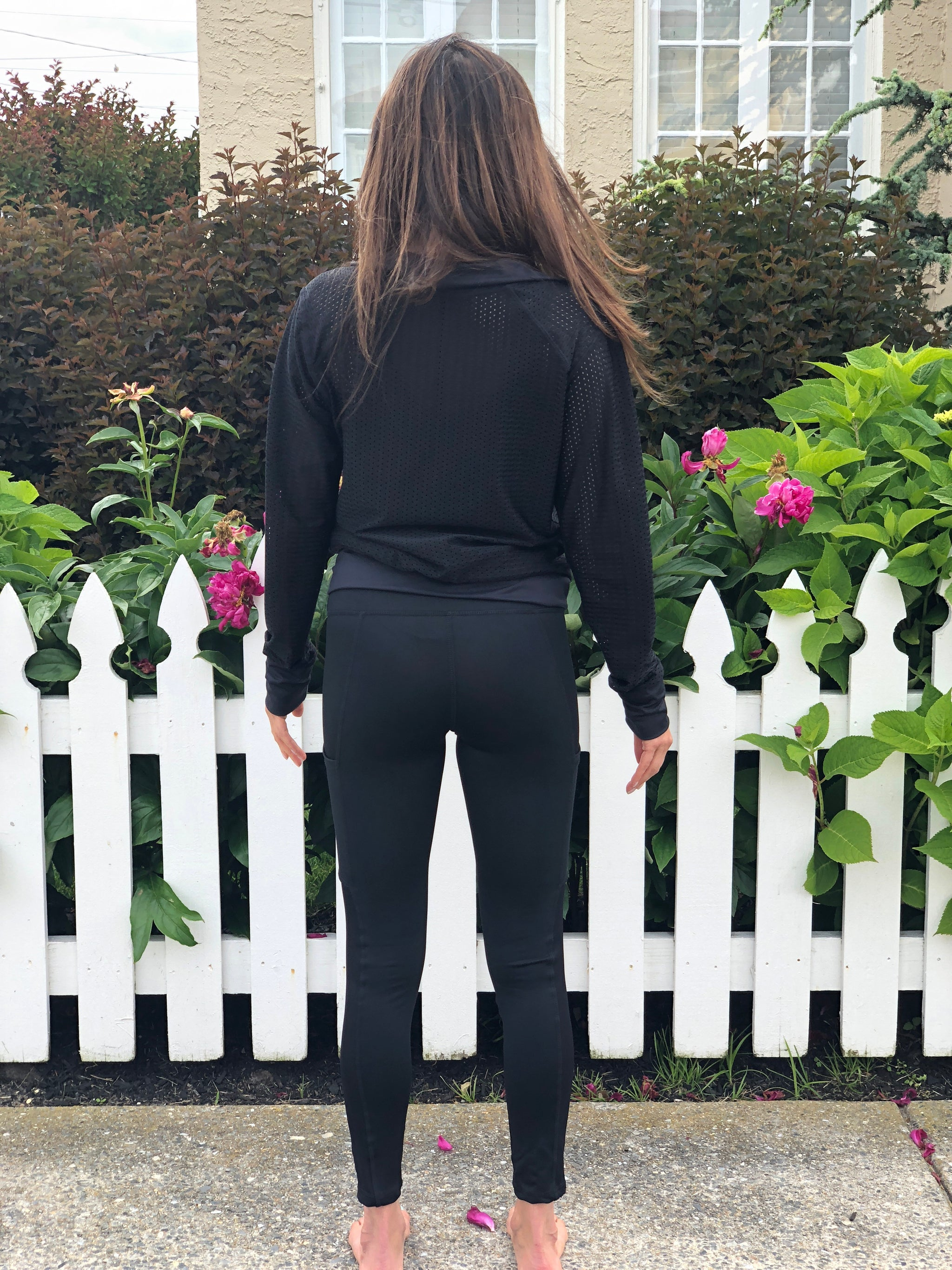 Yoga Pants With Pockets - Black Mesh Yoga Pants with Cell Phone Pocket