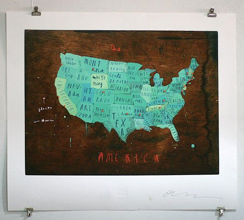 America Map with Pins - Oliver Jeffers Stuff