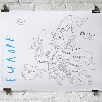 Europe Map with Pins - Oliver Jeffers Stuff