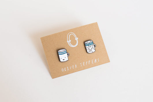 'Before and After' cup enamel pins - Oliver Jeffers Stuff