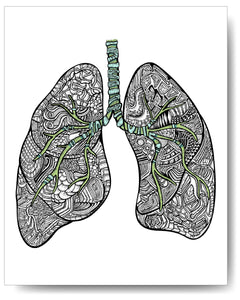 Blue & Green Lungs - 8x10 or 11x14