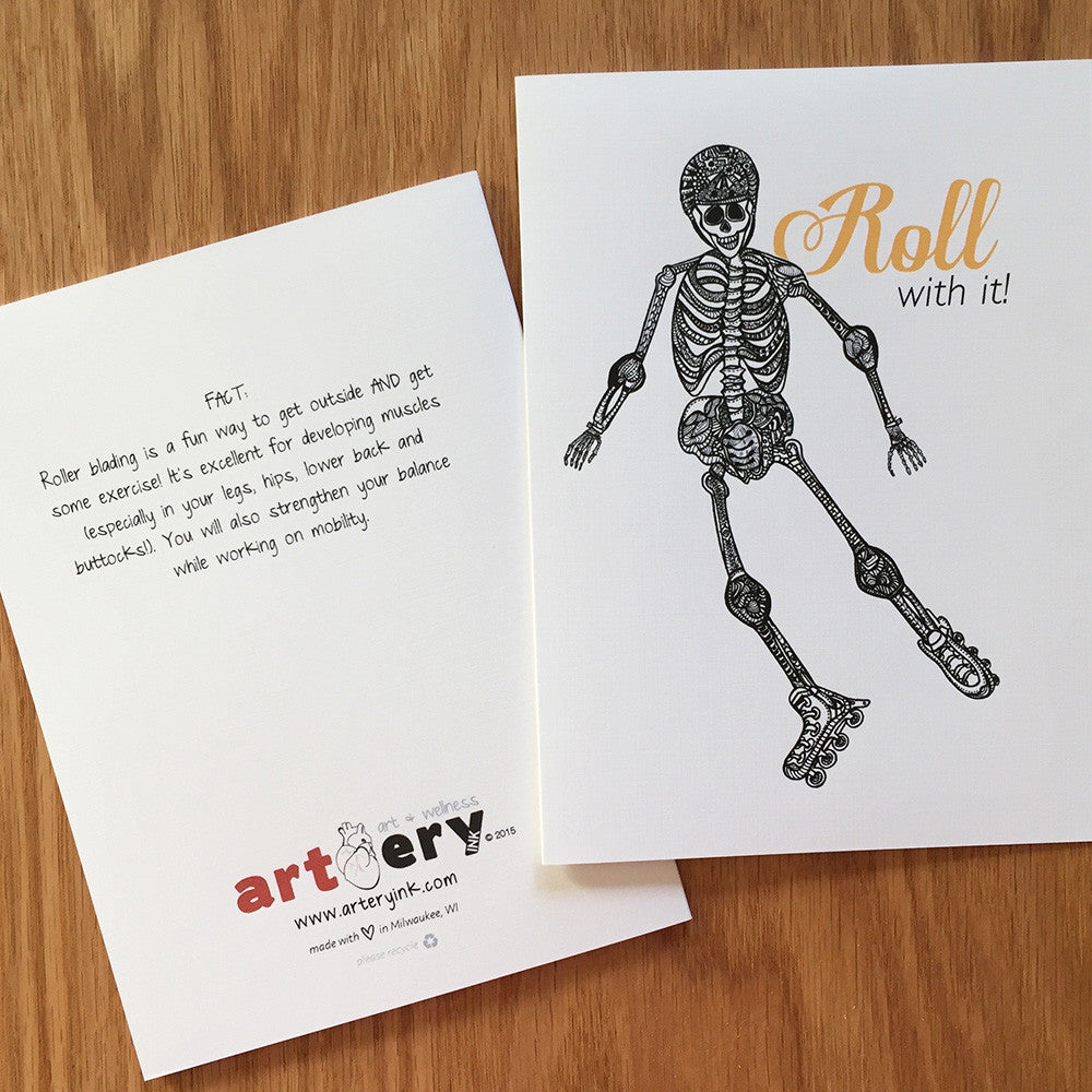 Roller Blading Skeleton - Any Occasion (#8117)