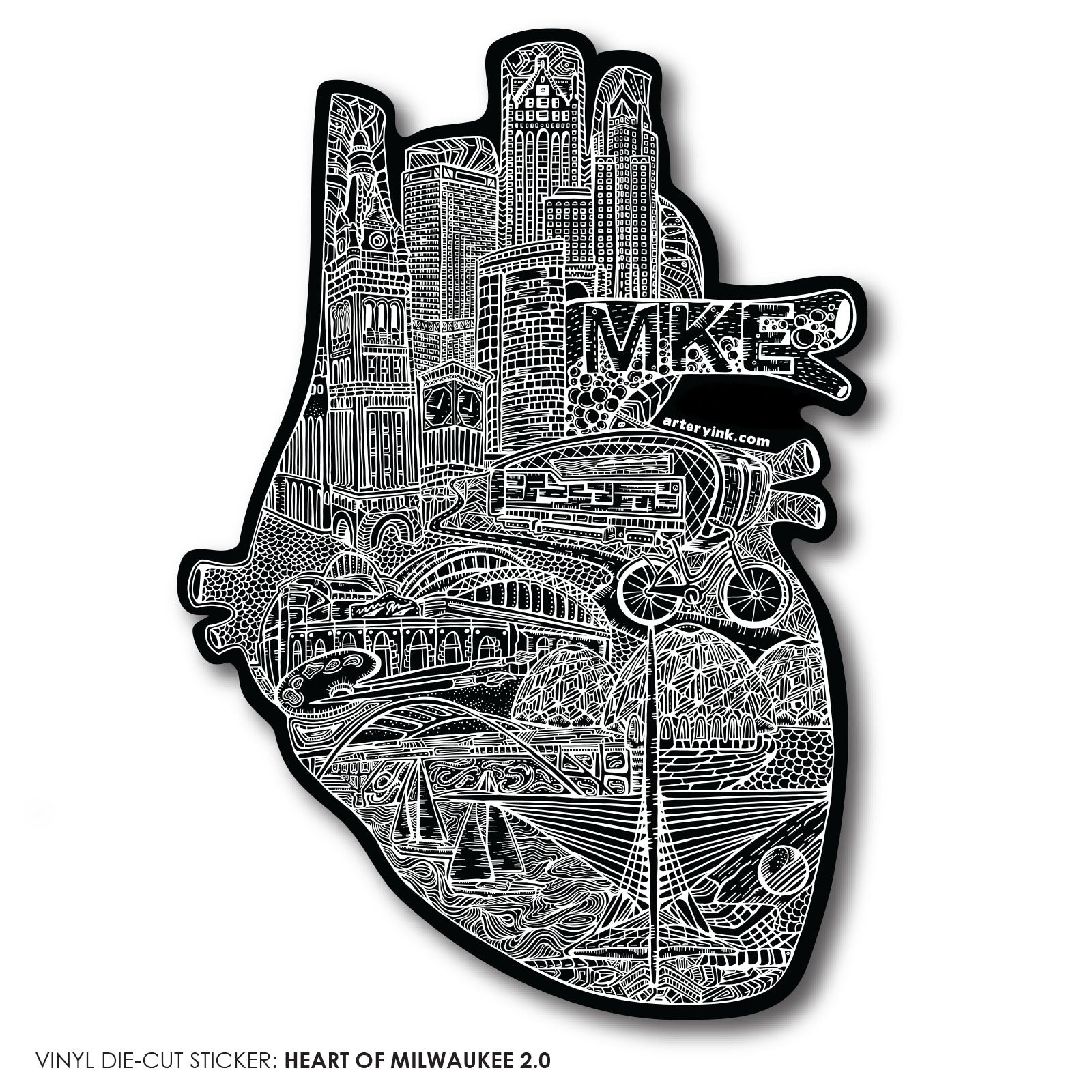 Heart of Milwaukee 2.0 Sticker