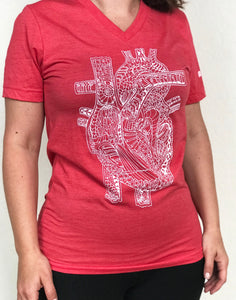Anatomical Heart Unisex V-Neck T.Shirt