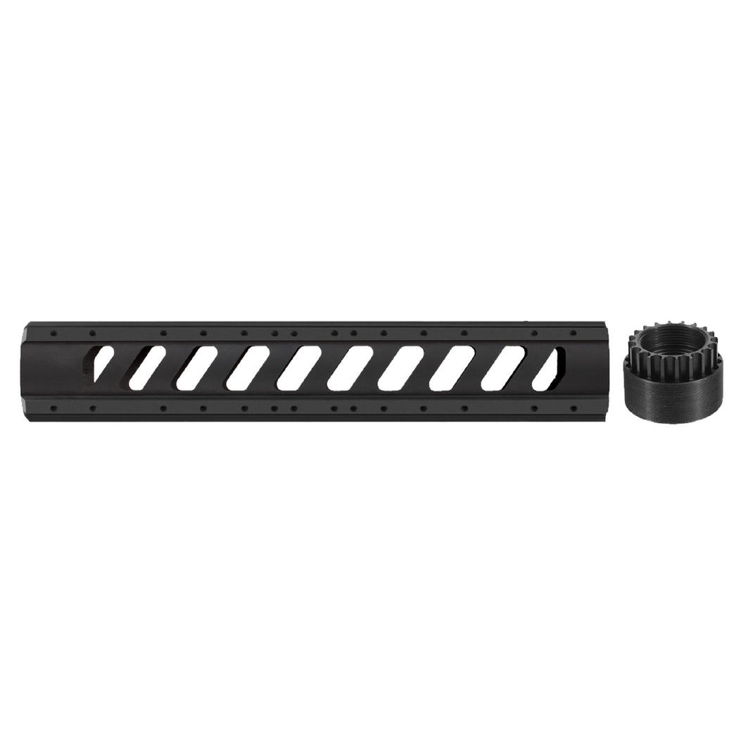 AR-15 Aluminum 6 Side Free Float Forend - Rifle Length with Slotted Barrel Nut, Black