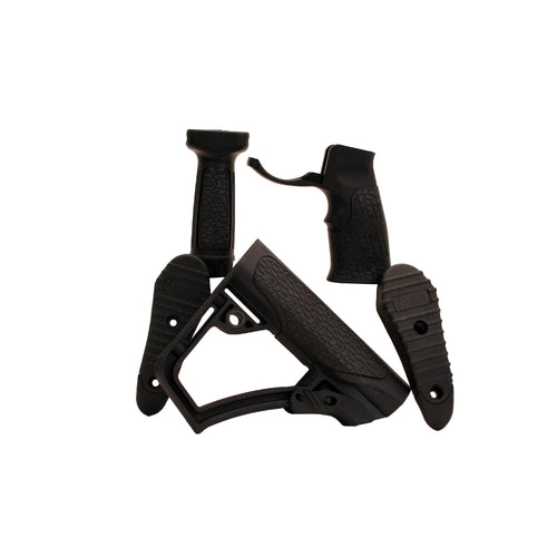 Collapsible Buttstock Pistol Grip & Vertical Foregrip Combo - Black