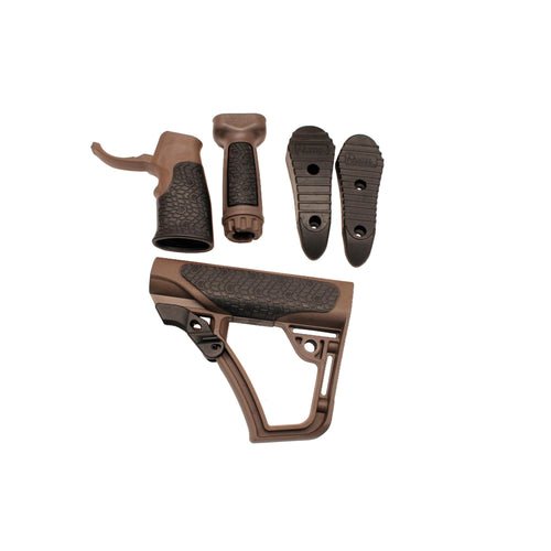Collapsible Buttstock Pistol Grip & Vertical Foregrip Combo - Mil-Spec+, Brown