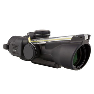 ACOG 3x24mm Compact Low Height Scope - Dual Illuminated Amber Horseshoe-Dot .223-55 Grains Ballistic Reticle, Black