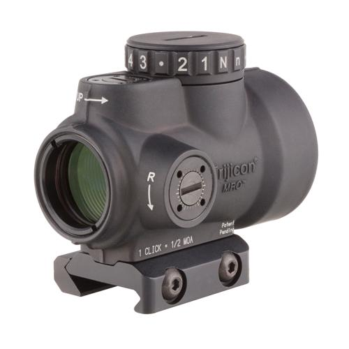 1x25mm Patrol Riflescope with Miniature Rifle Optic (MRO) - 2.0 MOA Adjustable Red Dot Reticle with Low Mount, Black
