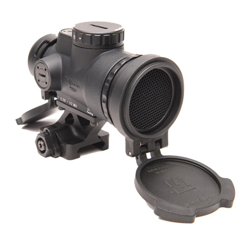 1x25mm Patrol Riflescope with Miniature Rifle Optic (MRO) - 2.0 MOA Adjustable Red Dot Reticle with Full Co-Witness Quick Release Mount, Blk