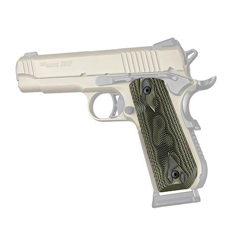 1911 Government Grips - Round Heel Checkered, Extreme Series G10, G-Mascus, Green