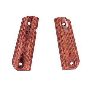 1911 Government Grips - Round Heel, Ambidextrous Safety Cut, Checkered, Rosewood Laminate