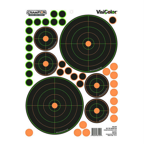 Peel and Stick Targets - 50 Yards Sight In Bullseye, Variety, Package of 5
