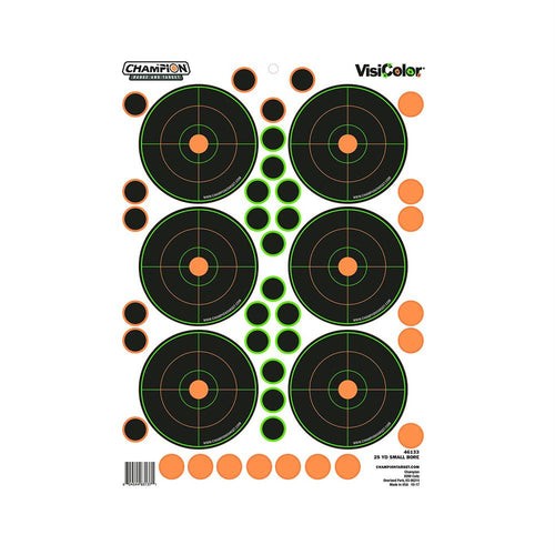 Peel and Stick Targets - 25 Yards Small Bore with 90 Pastors, Package of 5
