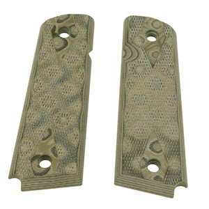 "1911 Government-Commander 9-32"" Thick Grips - G-10 Checkered G-Mascus Green"