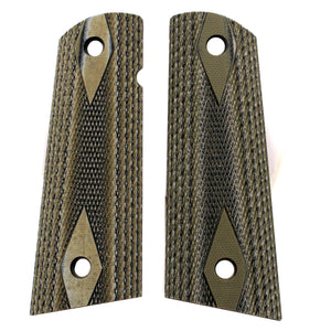 Colt & 1911 Government S&A Mag Well Grips - Checkered G-10 G-Mascus Green