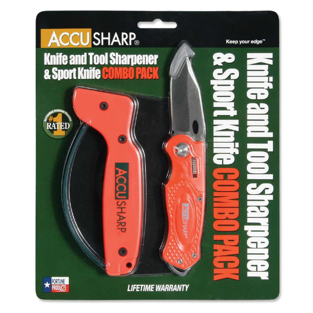 AccuSharp Sharpener and Sport Folding Knife Combo - Orange