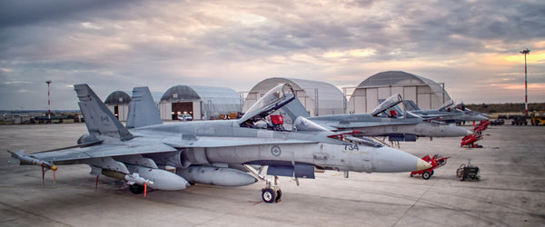 "CF-18 Hornets on Trapani Ramp 72"" x 30"" Giant Image Wall Art"