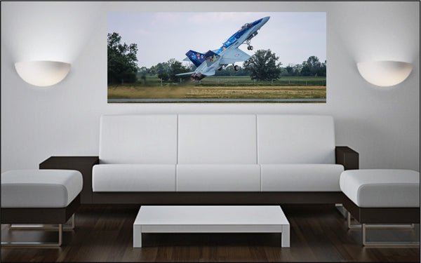 "CF-18 Hornet Demo Jet Take Off 72"" x 30"" Giant Image Wall Art"