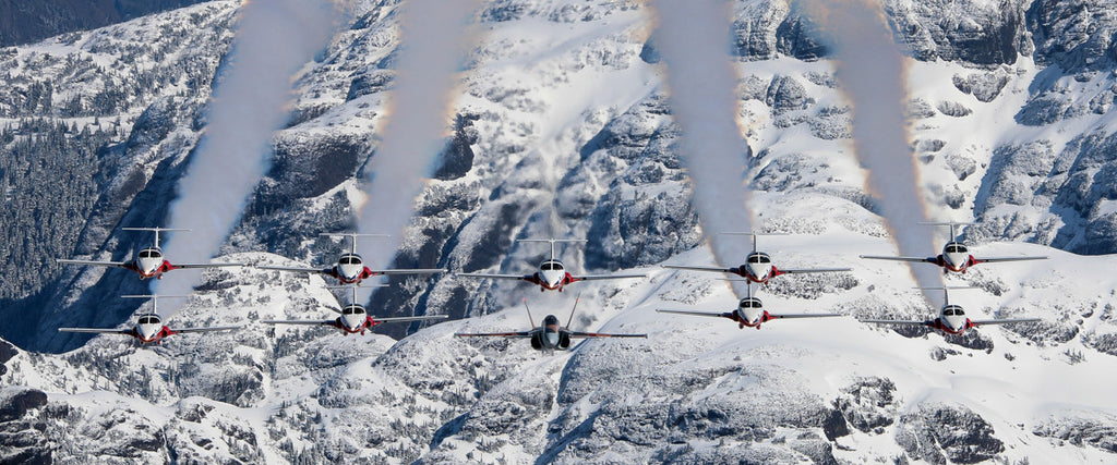 "Snowbirds and CF-18 Demo Jet 72"" x 30"" Giant Image Wall Art"