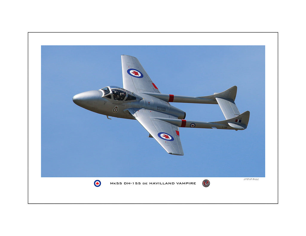 """Mk55 DH-155 de Havilland Vampire"" Fine Art Aviation Print"