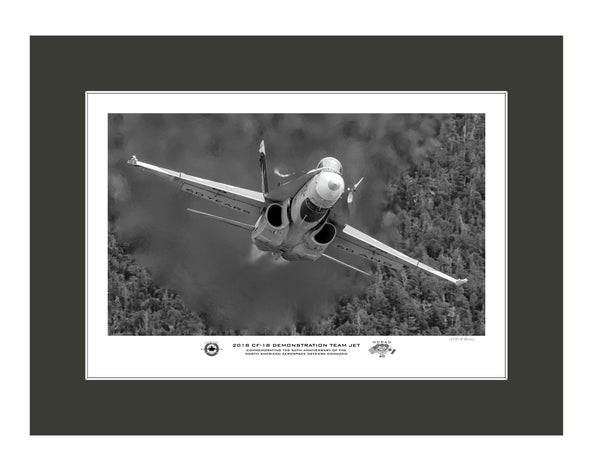 "2018 CF-18 Demo Team ""NORAD 60"" Jet Monochrome Fine Art Aviation Print"