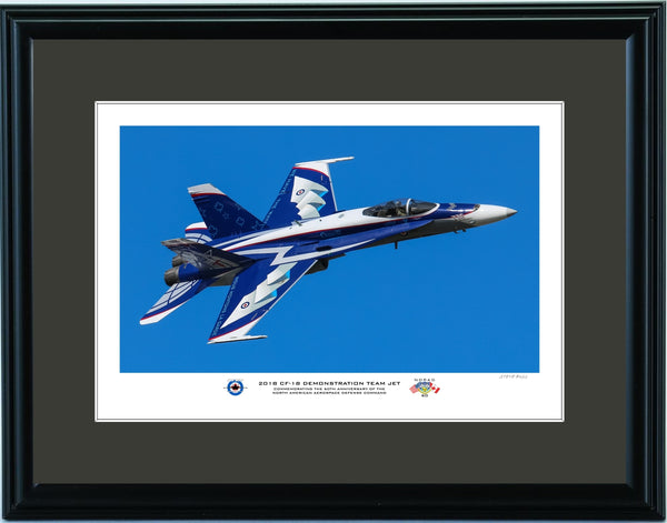 "2018 CF-18 Demo Team ""NORAD 60"" Jet Top Side Pass Fine Art Aviation Print"