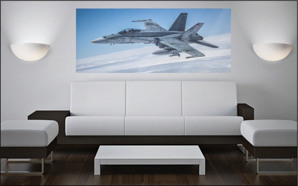 "CF-18 Hornet In Air 72"" x 30"" Giant Image Wall Art"